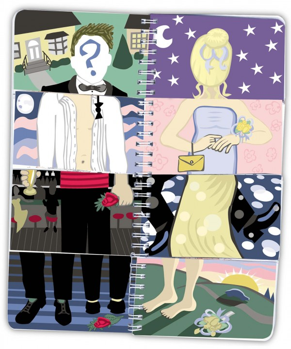 Marie Guglielmo color illustration of the mixed expectations of prom night; a spiral-bound flap-book images create a confused couple.