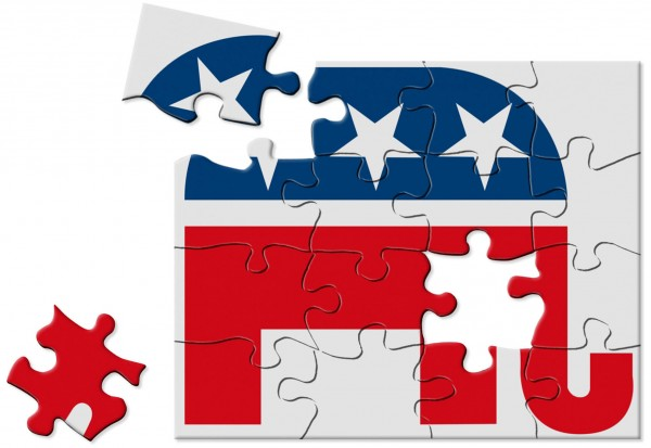Jennifer Pritchard illustration of U.S. Republican party logo depicted as a jigsaw puzzle.