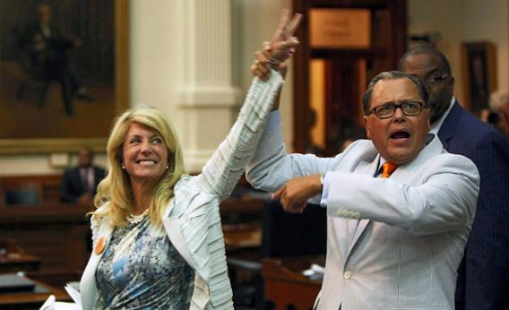 State Sen. Jose Rodriguez, D-El Paso, celebrates with state Sen. Wendy Davis, D-Fort Worth, as the Democrats defeat the anti-abortion bill SB5 on June 25, 2013, in Austin, Texas. You just don't see filibusters like Davis' anymore.