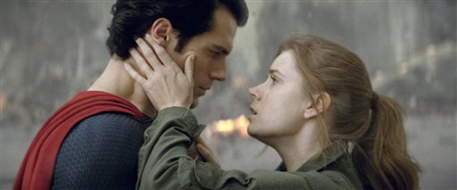 This film publicity image released by Warner Bros. Pictures shows Henry Cavill as Superman, left, and Amy Adams as Lois Lane in &quotMan of Steel.&quot