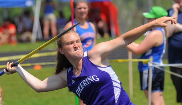 Alexis Elowitch of Deering High School competes in the javelin throw during the Class A State Championship Track and Field meet at the Brewer Community School Saturday.