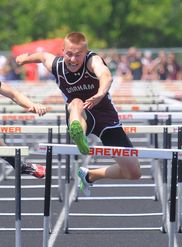 ulian Nijkamp of Gorham won the boys 110 meter high hurdles during the Class A State Championship Track and Field meet at the Brewer Community School.  Nijkamp's time was 15.01 seconds.