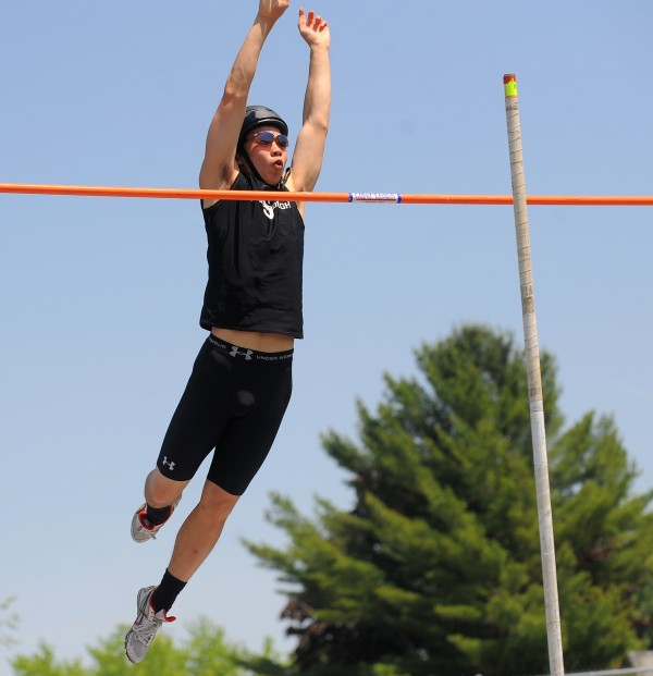 Alec James of  Scarborough clears the 13 foot height in pole vault during the Class A State Championship Track and Field meet at the Brewer Community School. James  finished second.