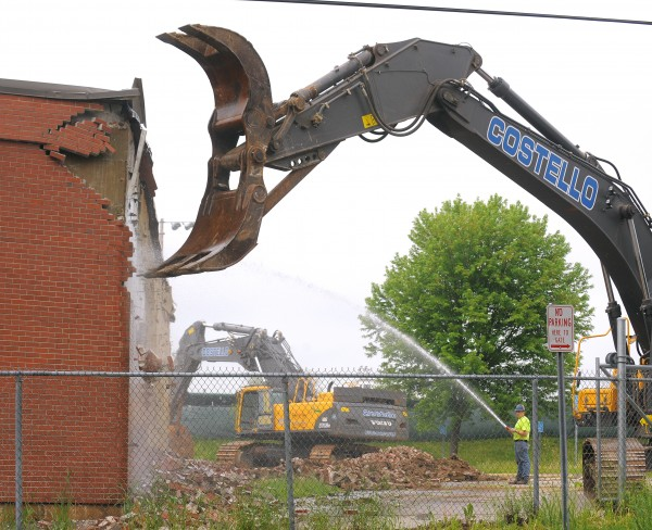 The demolition of the outside wall of the Bangor Auditorium and Civic Center started Monday morning.