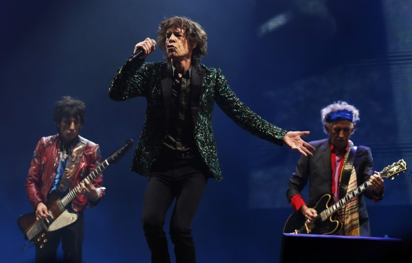 Ronnie Wood, Mick Jagger and Keith Richards of the Rolling Stones perform on the Pyramid Stage at Glastonbury music festival at Worthy Farm in Somerset, June 29, 2013.