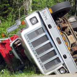 A truck overturned on Route 4 in Turner Friday afternoon, closing a section of the road for a short time. It appears there was another vehicle involved in the accident as well.