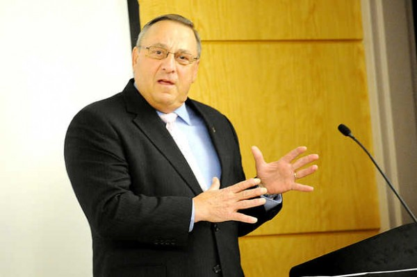 Gov. Paul LePage delivers welcoming remarks Friday morning at Central Maine Community College to attendees of the  Maine Military and Community Network's third annual statewide conference on military families and their children.