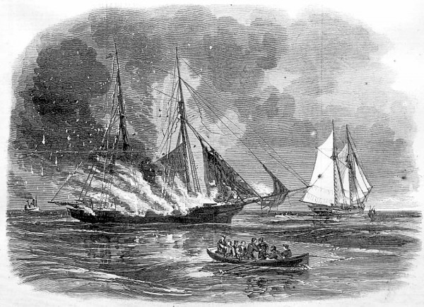 The Confederate sailors who captured the Revenue Service cutter Caleb Cushing in Portland Harbor row away after they left the ship burning on Saturday, June 27, 1863. Maine soldiers home on leave and enthusiastic civilian volunteers piled into two steamships that pursued and caught the Cushing in Casco Bay.