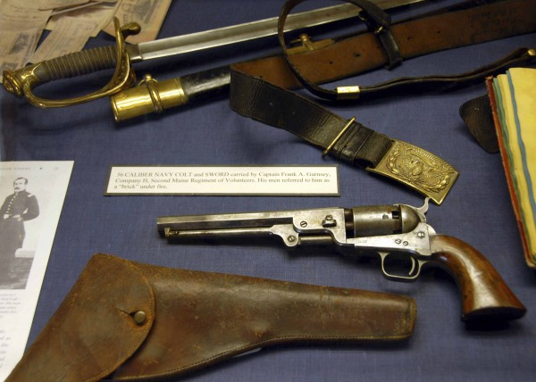 Among the historical items displayed in the Maine Civil War Trail exhibit at the Wilson Museum in Castine are the Navy Colt and sword worn by Capt. Frank Garnsey of the 2nd Maine Infantry Regiment.