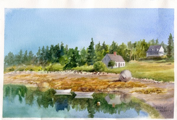 An example of plein air watercolor painting by Elise Andrea.