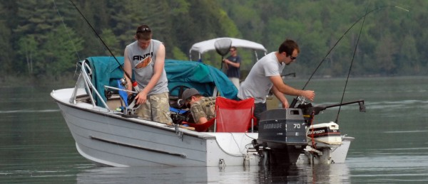 On West Grand Lake, fishermen work for the prize during the weekend Togue Fishing Derby sponsored by the Grand Lake Stream Area Chamber of Commerence. The derby also encluded Pocumcus Lake.