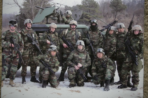 Christy Gardner of Lewiston, Maine, far right, with her squad on a mission in Korea before her injury.