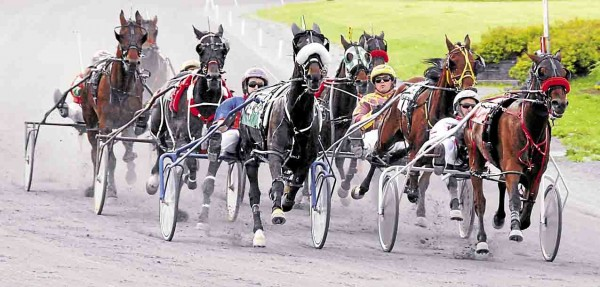 Eight competitors reach Turn 1 at Bass Park Raceway during harness racing held in Bangor on Monday, June 10. Heath Campbell of Bangor won his 4,000th race as a driver at the raceway on May 31.