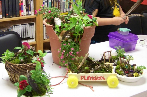 Kids create Fairy Gardens at Palermo Community Library