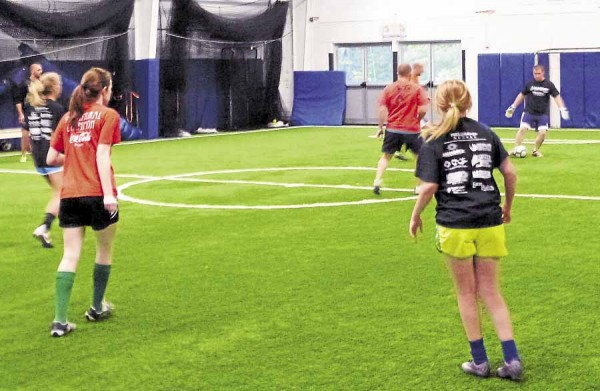 Young people hone their soccer skills during an indoor clinic held at Fields4Kids, 129 Farm Road, Bangor. The nonprofit organization leases space from Beal College to stage indoor sports leagues and other activities.