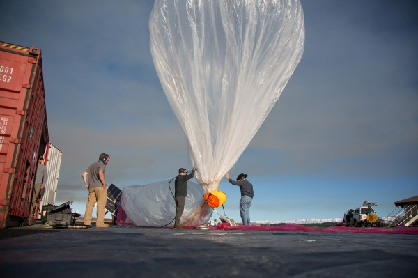 Google technicians prepare a balloon for launch in New Zealand. Google started a pilot program in June 2013 in the Canterbury area of New Zealand with 50 Wi-Fi testers trying to connect to 30 airborne balloons.