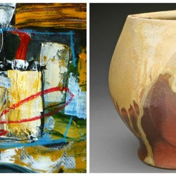 "L-R: Jaap Eduard Helder, Untitled, acrylic on paper, 6"" x 6"" and Jody Johnstone, Sculpted Vase, stoneware, anagama fired, unglazed,