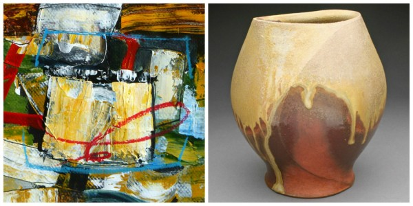 L-R: Jaap Eduard Helder, Untitled, acrylic on paper, 6&quot x 6&quot and Jody Johnstone, Sculpted Vase, stoneware, anagama fired, unglazed,