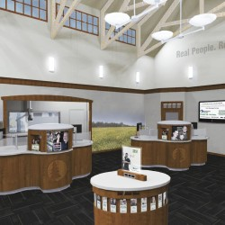 Artist rendering of the Skowhegan Savings lobby in their newly constructed Augusta, ME branch.