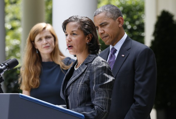 Susan Rice, the new National Security Advisor speaks as Samantha Power (L), newly appointed U.S. Ambassador to the United Nations, and U.S. President Barack Obama listen after his announcement of the appointments in the Rose Garden of the White House in Washington, June 5, 2013.