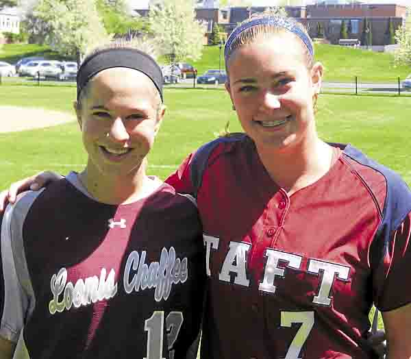 Katie McLaughlin (left) and Sierra Semmel (right) pose in their school uniforms at the Western New England Prep School All Star softball game.