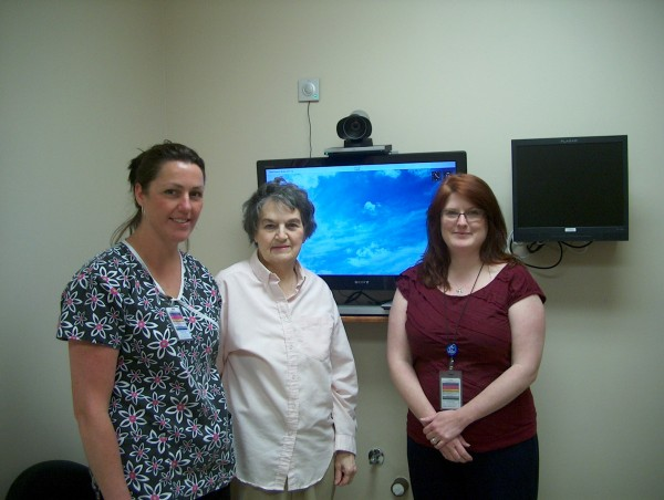 One of our first patients to experience a telemedicine visit was Mrs. Ann Corbett of Calais. She is pictured here with CNA Teresa Hollingdale (l) and CRH Telemedicine Project Manager Karen Hornberger (r).