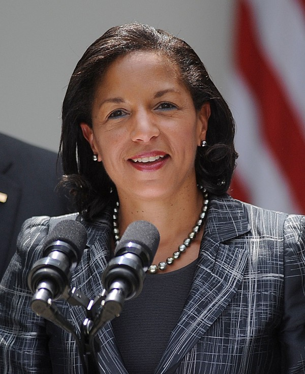 Newly appointed national security adviser Susan Rice speaks as President Obama looks on during a event in the Rose Garden at the White House June 5, 2013 in Washington, D.C.