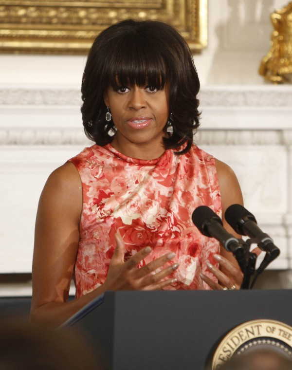 File photo: First lady Michelle Obama addresses the National Governors Association in the State Dining room of the White House in Washington, D.C., on February 25, 2013.