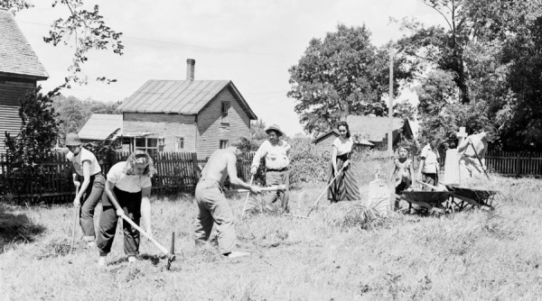 Taking part in an American Friends Service committee (Quakers) work camp on Indian Island, Old Town, for eight weeks this summer are: left to right, Barbara Tresler, Barbara Peabody, Gerold Baumann of Switzerland, Gabriel Polchies, supervisor, Maria Esther Aguilera of Mexico, Joe Sapiel, Everett Nicola, and Charles Risbarg. The Quakers were photographed on Tuesday, July 3, 1951.