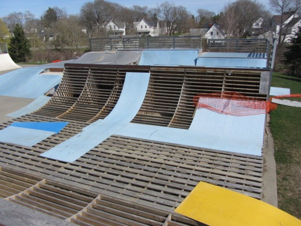 The Rockland skate park in disrepair. After much deliberation, the city decided to demolish it on June 8, 2013.