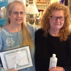 Andrea Poulos, local Lubec nurse and skin care product creator, with Debbie Kasunic, owner and President of Northern Tides, Inc.