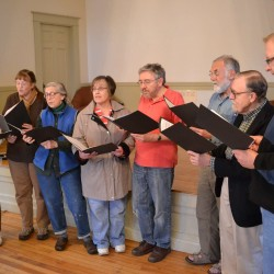 "The ""Steeple Singers"" choir practice. 