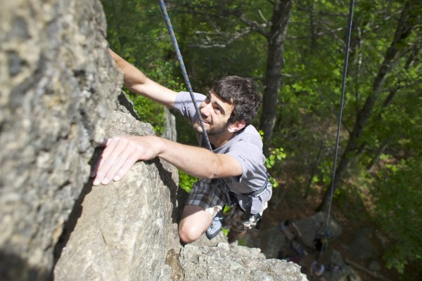 John Vicenzi climbs the 5.6 route Pride and Joy at Eagle Bluff in Clifton, Maine.