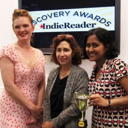 Kay Stephens, left, Amy Edleman, founder of IndieReader and Vinitha Nair, right