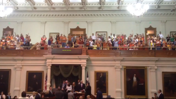 Crowds filled the statehouse in Texas to support a 13-hour filibuster against a bill that would have dramatically reduced the access to abortions in Texas.