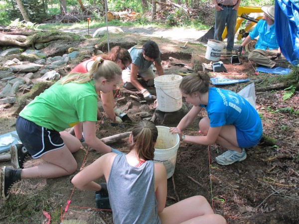 A group of students working with Professor Ben Carter of Muhlenberg College excavate the former home of Dominicus and Elizabeth Flood, who lived in the tiny homestead with their nine children from 1786 to 1811.
