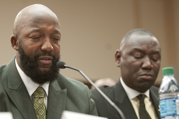 Tracy Martin, the father of Trayvon Martin, speaks at the House Caucus on Black Men and Boys in Washington, D.C., Wednesday, July 24, 2013.
