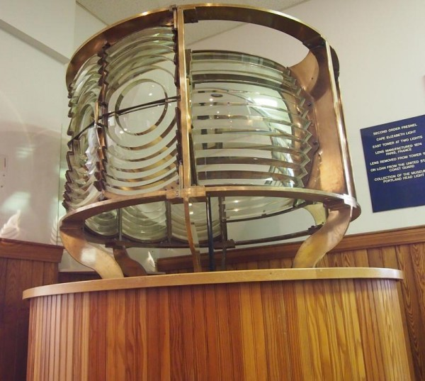A lighthouse lens on display in the lobby of Cape Elizabeth Town Hall, Wednesday, April 17. The lens, on loan to the town since 1995, was deemed too costly to maintain and was to be returned to the U.S. Coast Guard, until Maine Maritime Museum in Bath offered to add it to its collection.