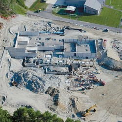 The Brunswick Armed Forces Readiness Center is being built at the former Brunswick Naval Air Station. The USMC Reserve Training Center can be seen at top, directly adjacent to the new National Guard site.