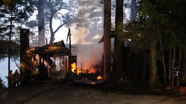A camp on Sandy Shore Lane in Norway caught fire Wednesday night.