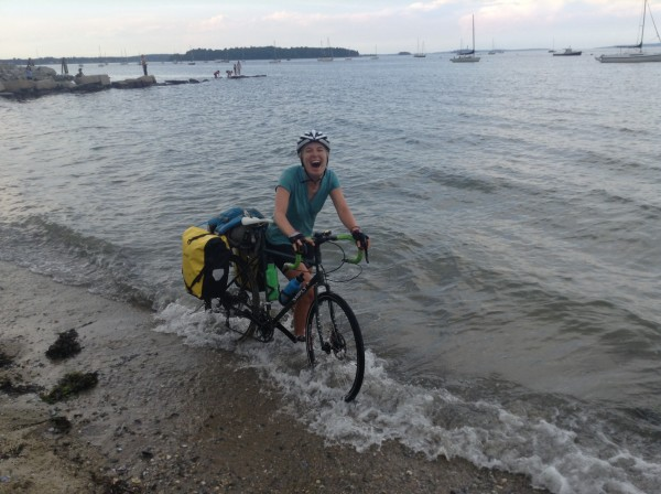Sarah Hart of Belfast last week finished a two-month, 3,850-mile ride across the United States in the Atlantic Ocean off the Eastern Promenade in Portland.