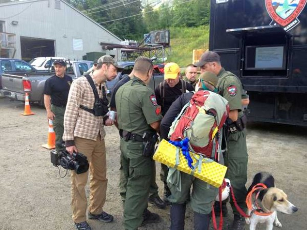 Members of the Maine Warden Service and volunteers gather Tuesday morning at the command post at Sugarloaf to prepare for another day of searching for missing Appalachian Trail hiker Geraldine Largay.