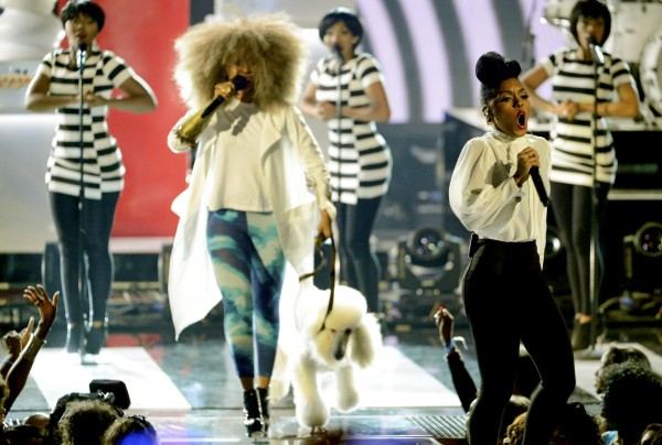 Janelle Monae (R) and Erykah Badu perform at the 2013 BET Awards in Los Angeles, California on June 30, 2013.