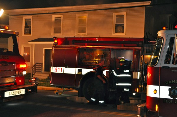 Bangor firefighters respond to a blaze at 378-380 Hammond St. early Monday morning.