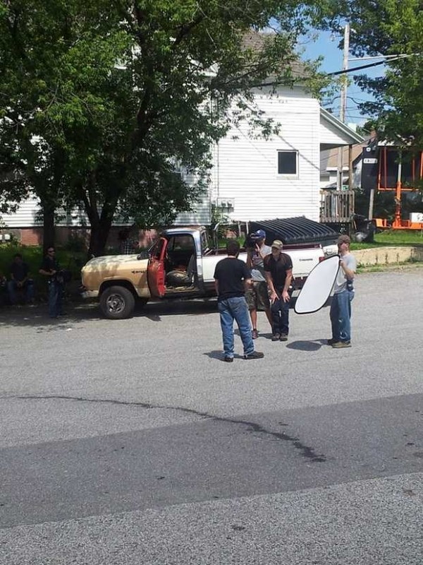 Crews from &quotAmerican Pickers&quot film an impromptu scene after the man who was the subject of an upcoming episode ran out of gas in Heathco's parking lot on Court Street in Auburn on Monday night.