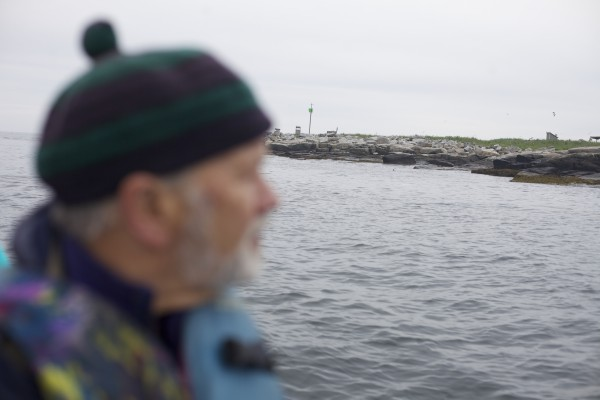 Steve Kress, the founder of Project Puffin, looks toward Eastern Egg Rock in Muscongus Bay, about six miles east of Pemaquid Point in Maine while driving a boat to the island.