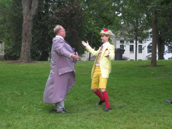 David Greenham, left, and Xander Johnson rehearse &quotTwelfth Night,&quot presented by the Bath Shakespeare Festival, through Aug. 4 in Library Park.