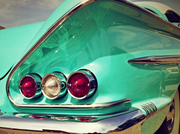 This distinctive taillight cluster belongs to Bob & Ellen Allen's 1958 Chevy Impala.