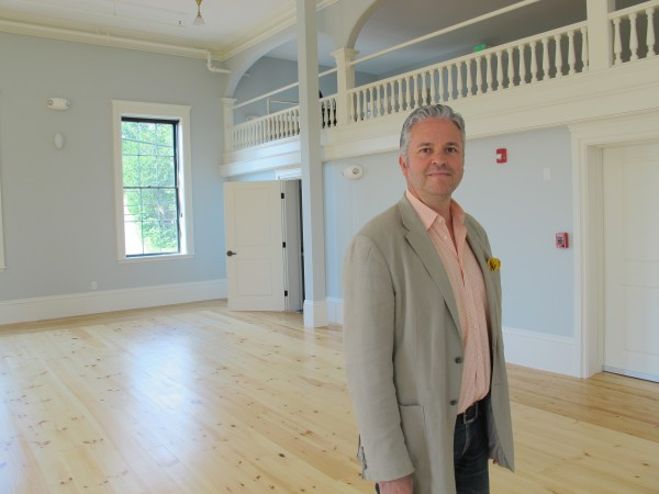 Manuel Bagorro, new artistic director for Bay Chamber Concerts, inside newly renovated Union Hall in Rockport.