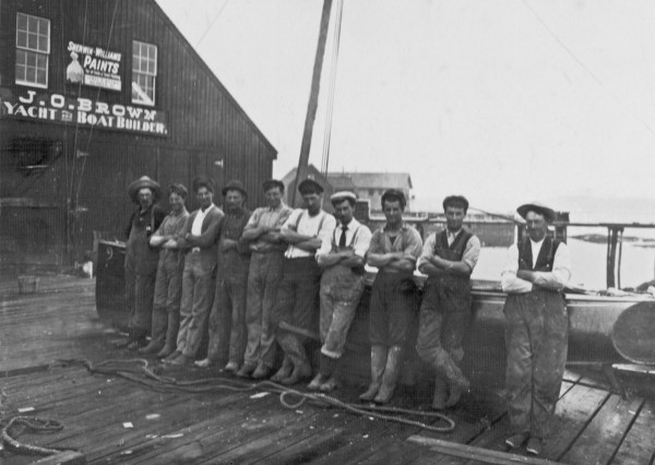 The J. O. Brown & Sons Shipyard was started by James Osmond Brown (third from left), pictured in 1900 with his crew at the North Haven business.